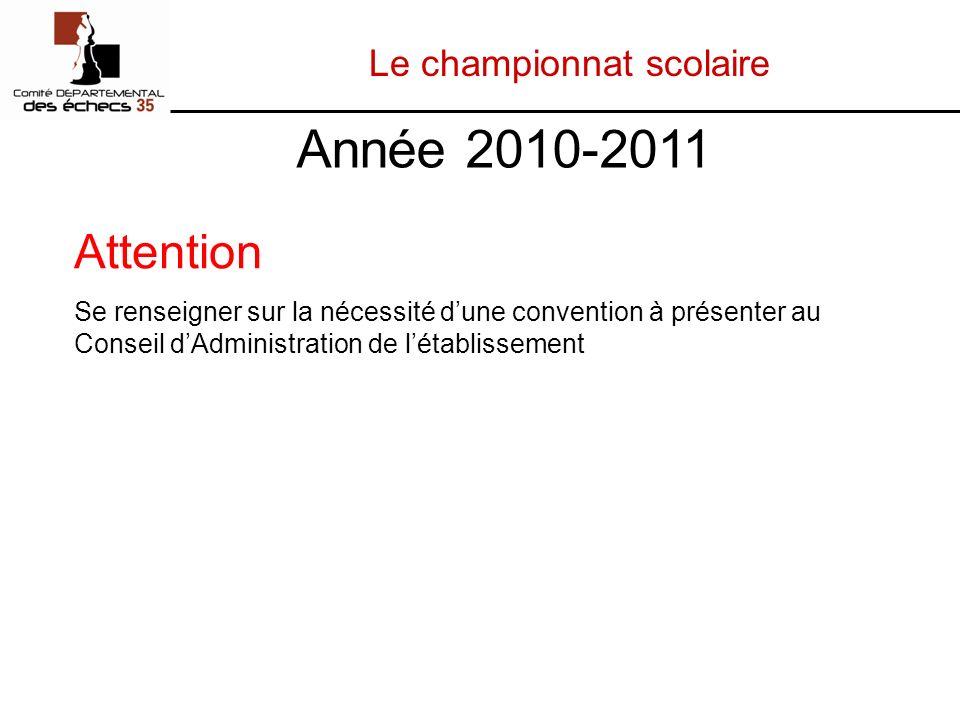 Le championnat scolaire Attention Se renseigner sur la nécessité dune convention à présenter au Conseil dAdministration de létablissement Année 2010-2011