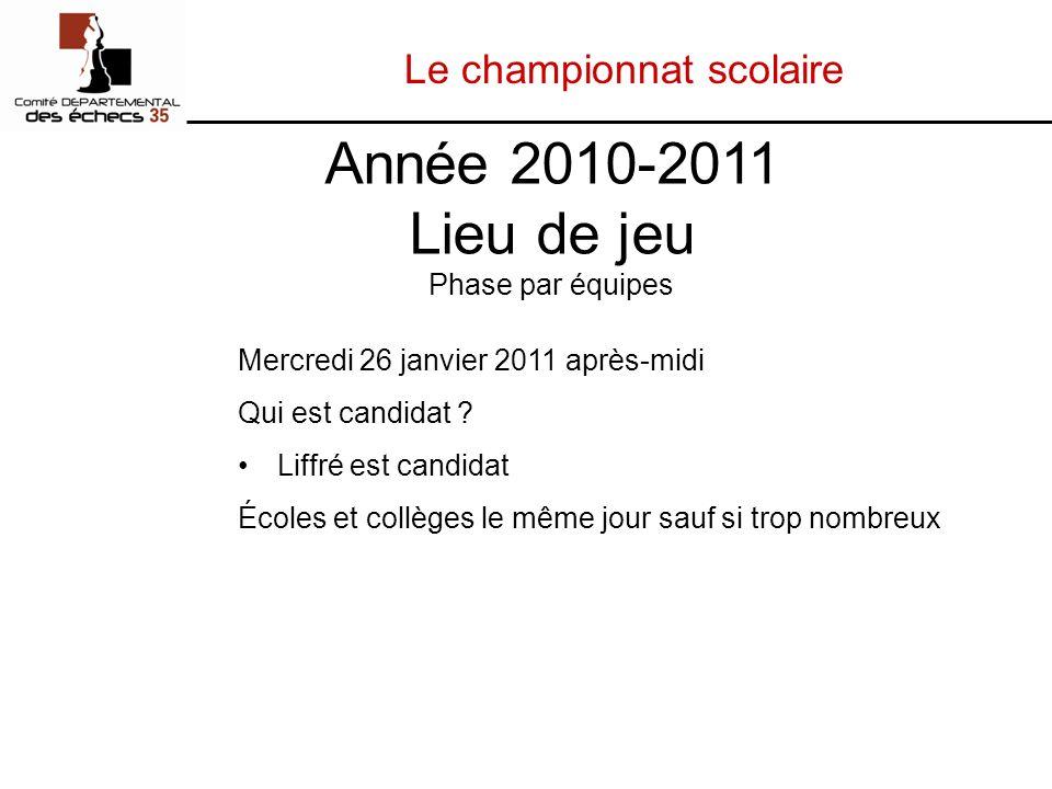Le championnat scolaire Mercredi 26 janvier 2011 après-midi Qui est candidat .