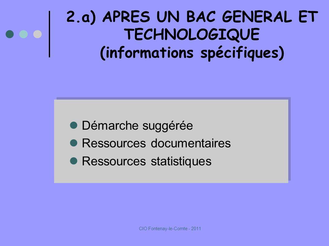2.a) APRES UN BAC GENERAL ET TECHNOLOGIQUE (informations spécifiques) Démarche suggérée Ressources documentaires Ressources statistiques Démarche suggérée Ressources documentaires Ressources statistiques CIO Fontenay-le-Comte - 2011