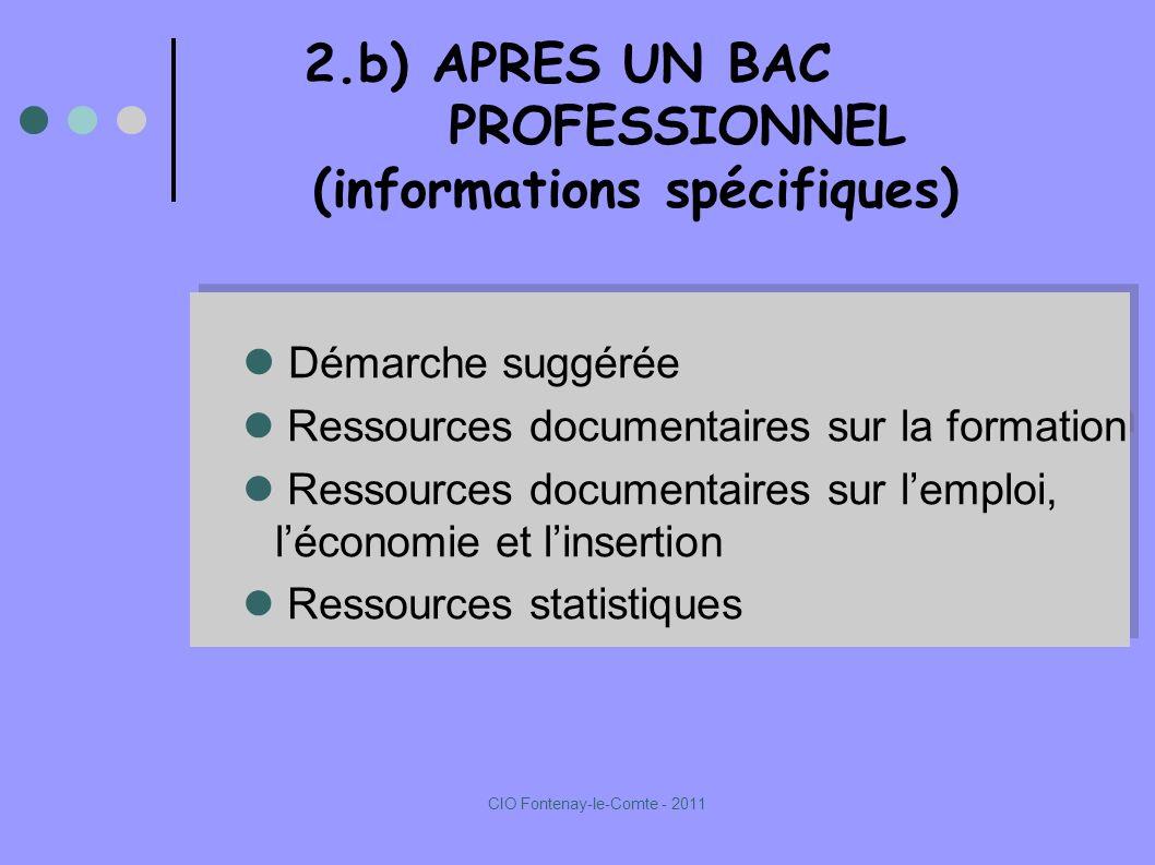 2.b) APRES UN BAC PROFESSIONNEL (informations spécifiques) Démarche suggérée Ressources documentaires sur la formation Ressources documentaires sur lemploi, léconomie et linsertion Ressources statistiques Démarche suggérée Ressources documentaires sur la formation Ressources documentaires sur lemploi, léconomie et linsertion Ressources statistiques CIO Fontenay-le-Comte - 2011
