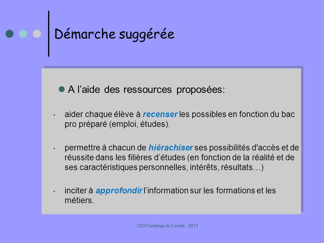 Démarche suggérée A laide des ressources proposées: aider chaque élève à recenser les possibles en fonction du bac pro préparé (emploi, études).