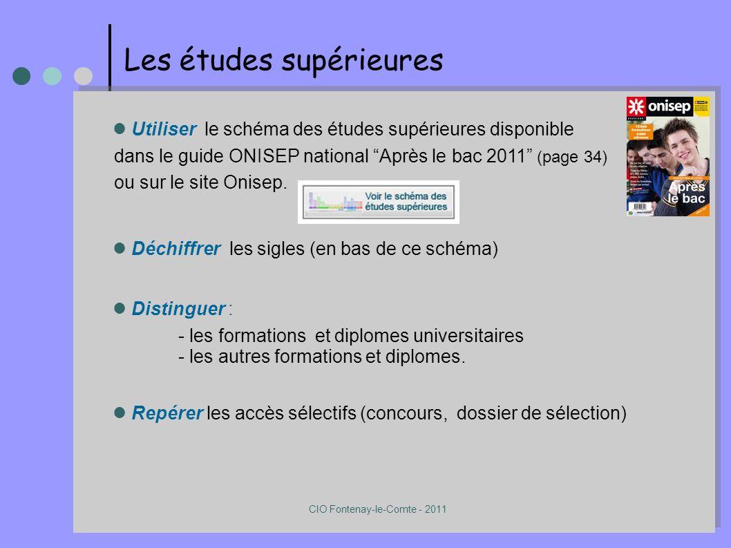 Les études supérieures Utiliser le schéma des études supérieures disponible dans le guide ONISEP national Après le bac 2011 (page 34) ou sur le site Onisep.