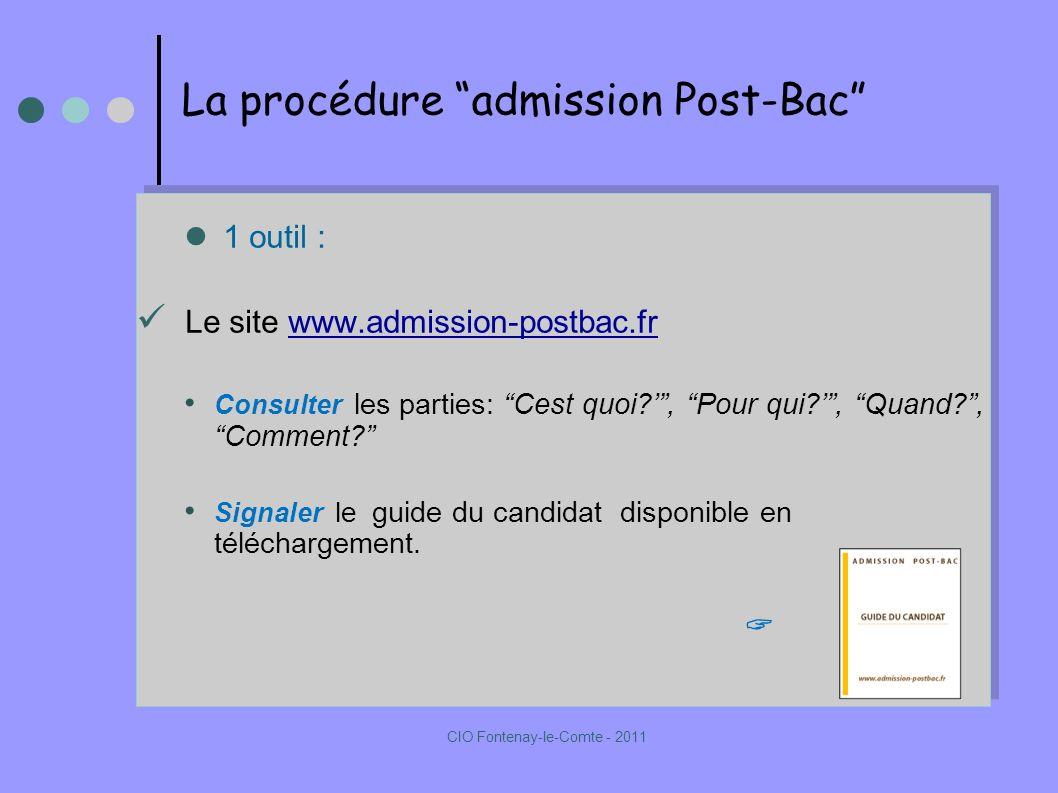 La procédure admission Post-Bac 1 outil : Le site www.admission-postbac.frwww.admission-postbac.fr Consulter les parties: Cest quoi , Pour qui , Quand , Comment.