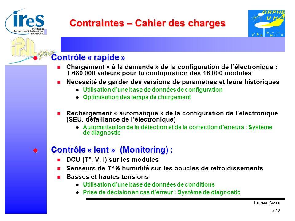 Laurent Gross # 10 Contraintes – Cahier des charges Contrôle « rapide » Contrôle « rapide » Chargement « à la demande » de la configuration de lélectr