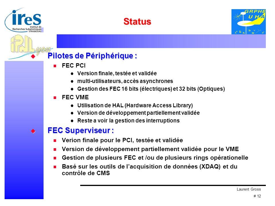 Laurent Gross # 12 Status Pilotes de Périphérique : Pilotes de Périphérique : FEC PCI Version finale, testée et validée multi-utilisateurs, accès asynchrones Gestion des FEC 16 bits (électriques) et 32 bits (Optiques) FEC VME Utilisation de HAL (Hardware Access Library) Version de développement partiellement validée Reste a voir la gestion des interruptions FEC Superviseur : FEC Superviseur : Verion finale pour le PCI, testée et validée Version de développement partiellement validée pour le VME Gestion de plusieurs FEC et /ou de plusieurs rings opérationelle Basé sur les outils de lacquisition de données (XDAQ) et du contrôle de CMS