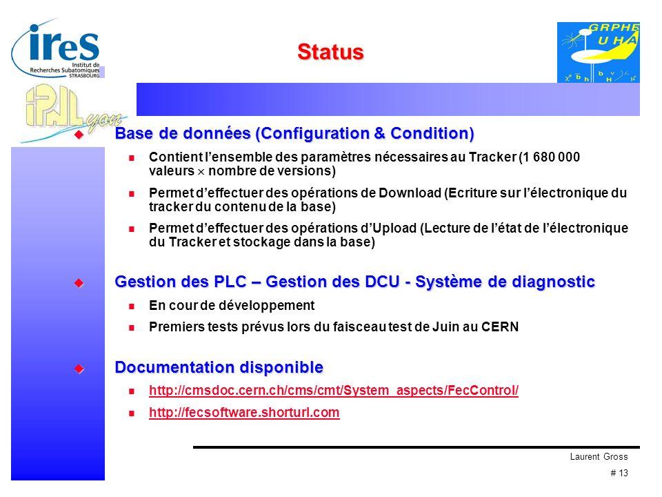 Laurent Gross # 13 Status Base de données (Configuration & Condition) Base de données (Configuration & Condition) Contient lensemble des paramètres né