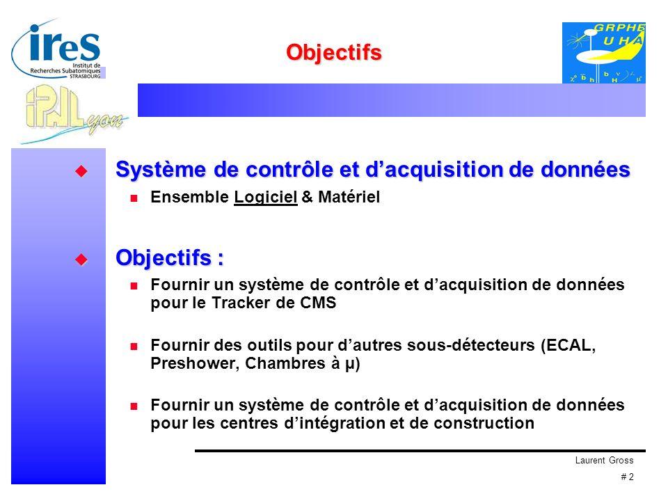 Laurent Gross # 2 Objectifs Système de contrôle et dacquisition de données Système de contrôle et dacquisition de données Ensemble Logiciel & Matériel