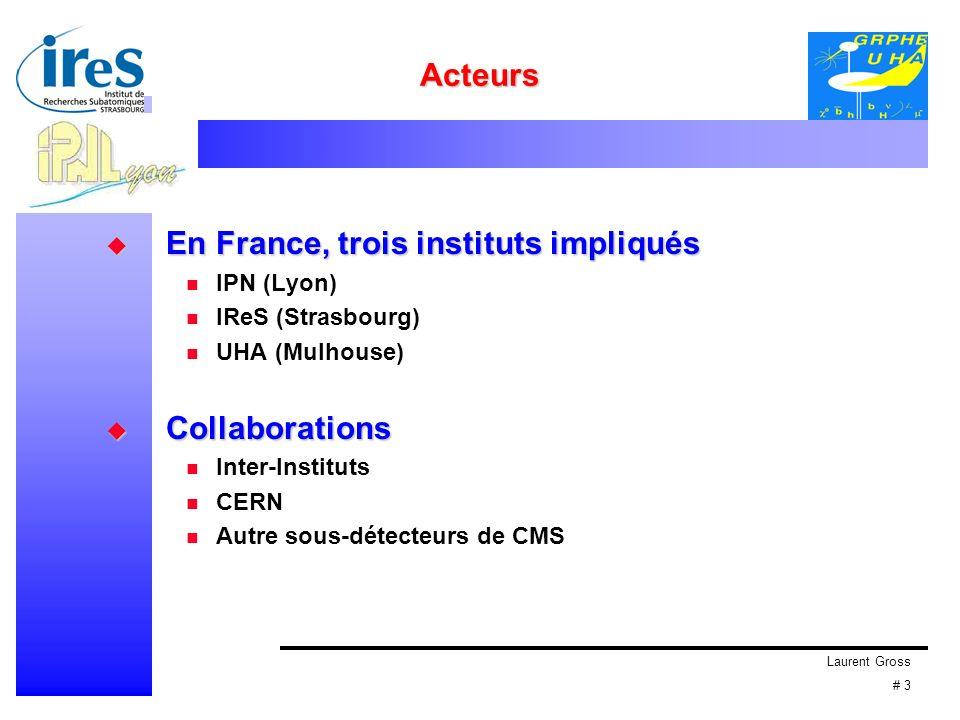 Laurent Gross # 3 Acteurs En France, trois instituts impliqués En France, trois instituts impliqués IPN (Lyon) IReS (Strasbourg) UHA (Mulhouse) Collab