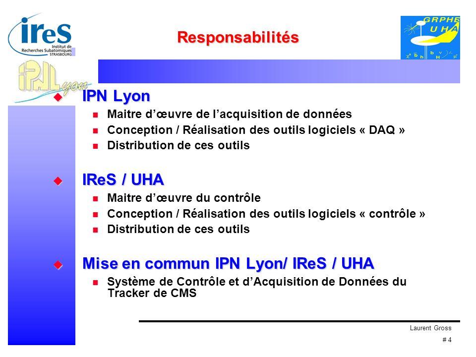 Laurent Gross # 4 Responsabilités IPN Lyon IPN Lyon Maitre dœuvre de lacquisition de données Conception / Réalisation des outils logiciels « DAQ » Distribution de ces outils IReS / UHA IReS / UHA Maitre dœuvre du contrôle Conception / Réalisation des outils logiciels « contrôle » Distribution de ces outils Mise en commun IPN Lyon/ IReS / UHA Mise en commun IPN Lyon/ IReS / UHA Système de Contrôle et dAcquisition de Données du Tracker de CMS