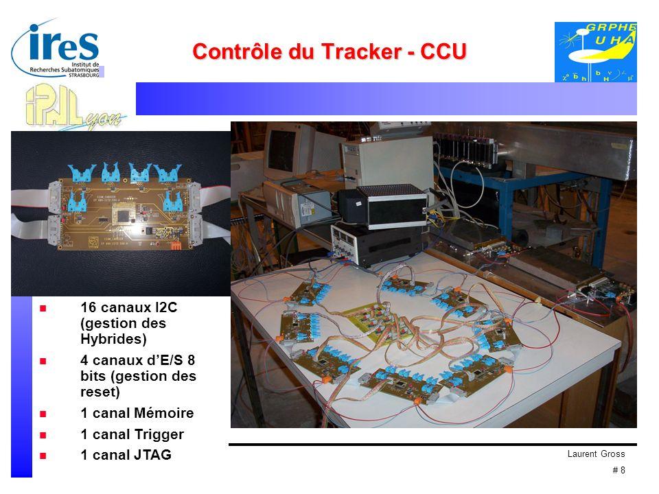 Laurent Gross # 8 Contrôle du Tracker - CCU 16 canaux I2C (gestion des Hybrides) 4 canaux dE/S 8 bits (gestion des reset) 1 canal Mémoire 1 canal Trigger 1 canal JTAG