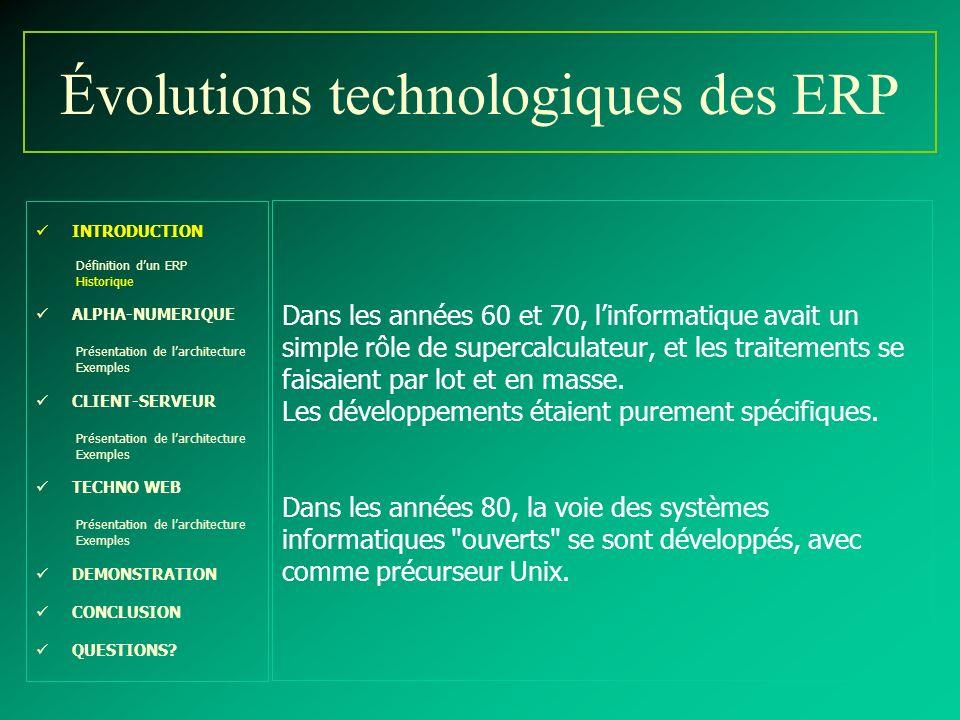 Évolutions technologiques des ERP INTRODUCTION Définition dun ERP Historique ALPHA-NUMERIQUE Présentation de larchitecture Exemples CLIENT-SERVEUR Pré