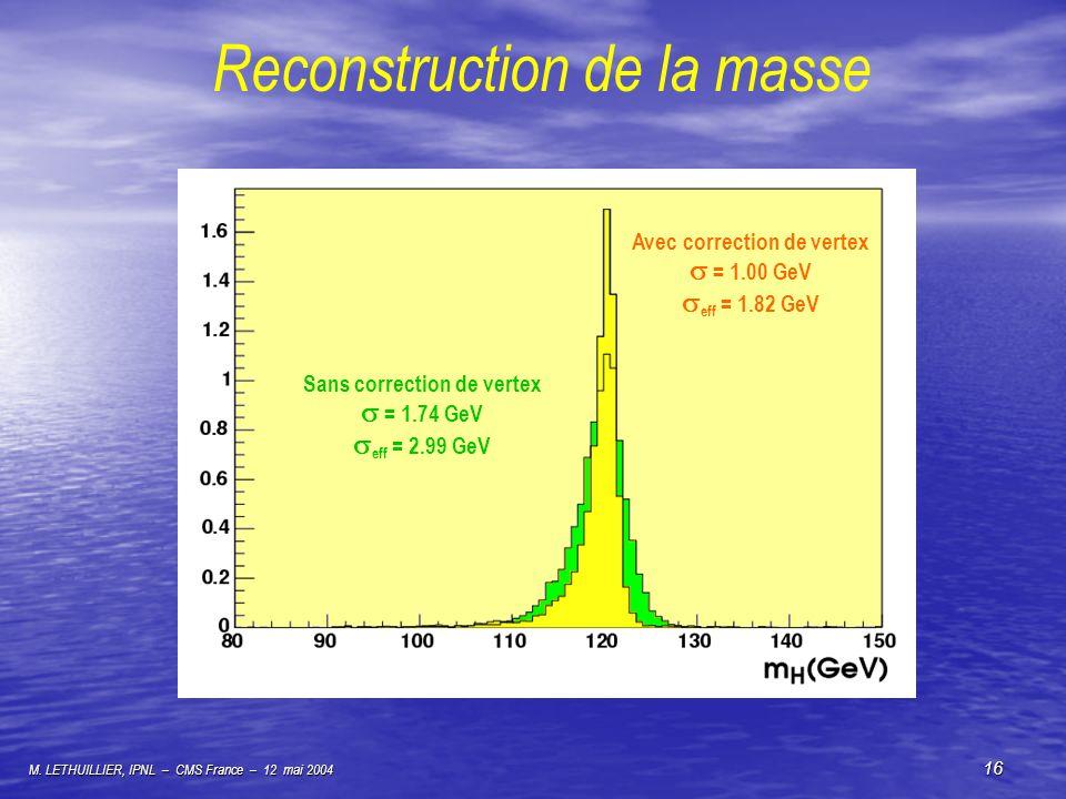 M. LETHUILLIER, IPNL – CMS France – 12 mai 2004 16 Reconstruction de la masse Sans correction de vertex = 1.74 GeV eff = 2.99 GeV Avec correction de v