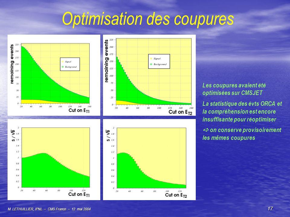 M. LETHUILLIER, IPNL – CMS France – 12 mai 2004 17 Optimisation des coupures Les coupures avaient été optimisées sur CMSJET La statistique des évts OR
