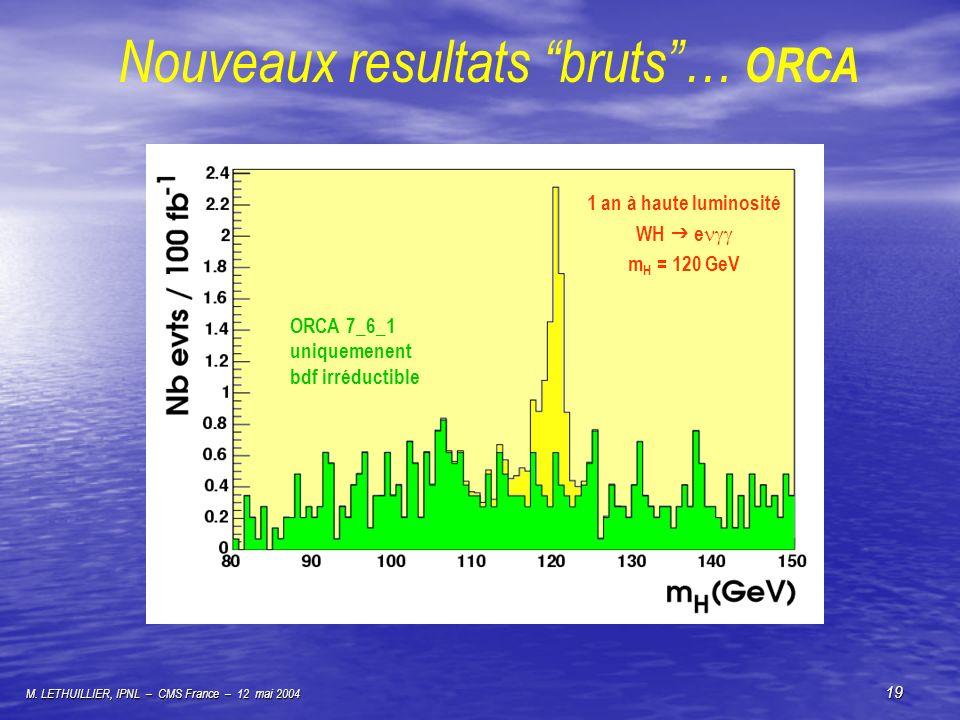 M. LETHUILLIER, IPNL – CMS France – 12 mai 2004 19 Nouveaux resultats bruts… ORCA 1 an à haute luminosité WH e m H = 120 GeV ORCA 7_6_1 uniquemenent b
