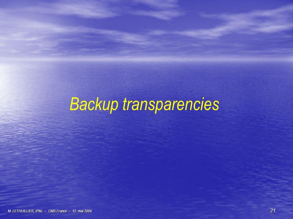 M. LETHUILLIER, IPNL – CMS France – 12 mai 2004 21 Backup transparencies