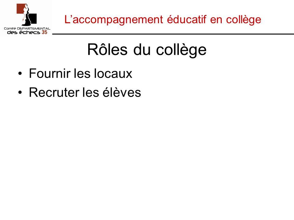 Laccompagnement éducatif en collège Rôles du collège Fournir les locaux Recruter les élèves