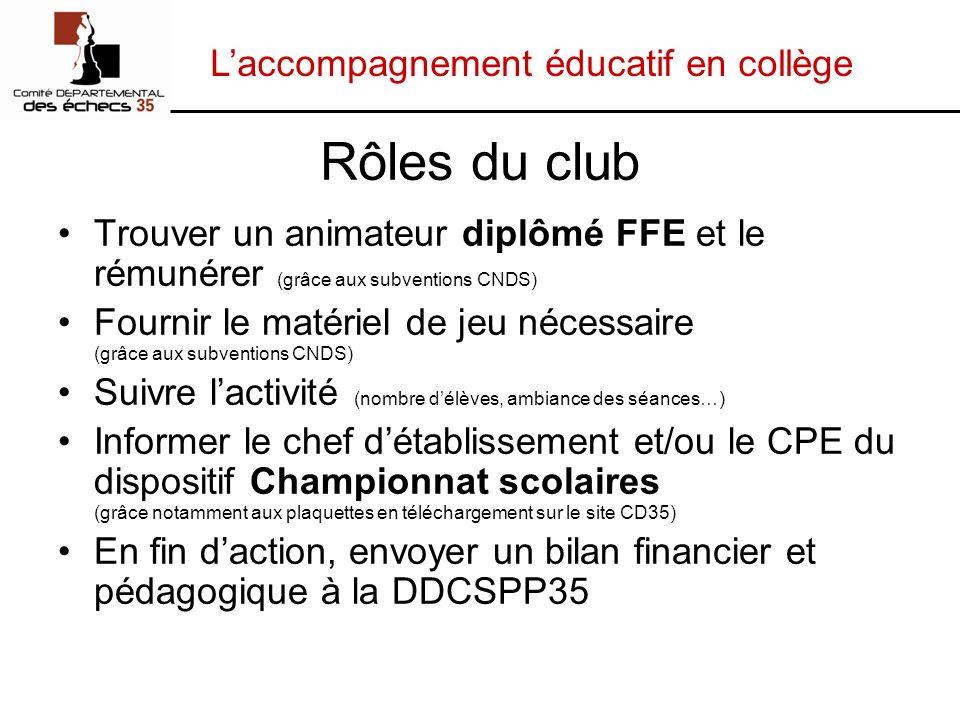 Laccompagnement éducatif en collège Rôles du club Trouver un animateur diplômé FFE et le rémunérer (grâce aux subventions CNDS) Fournir le matériel de