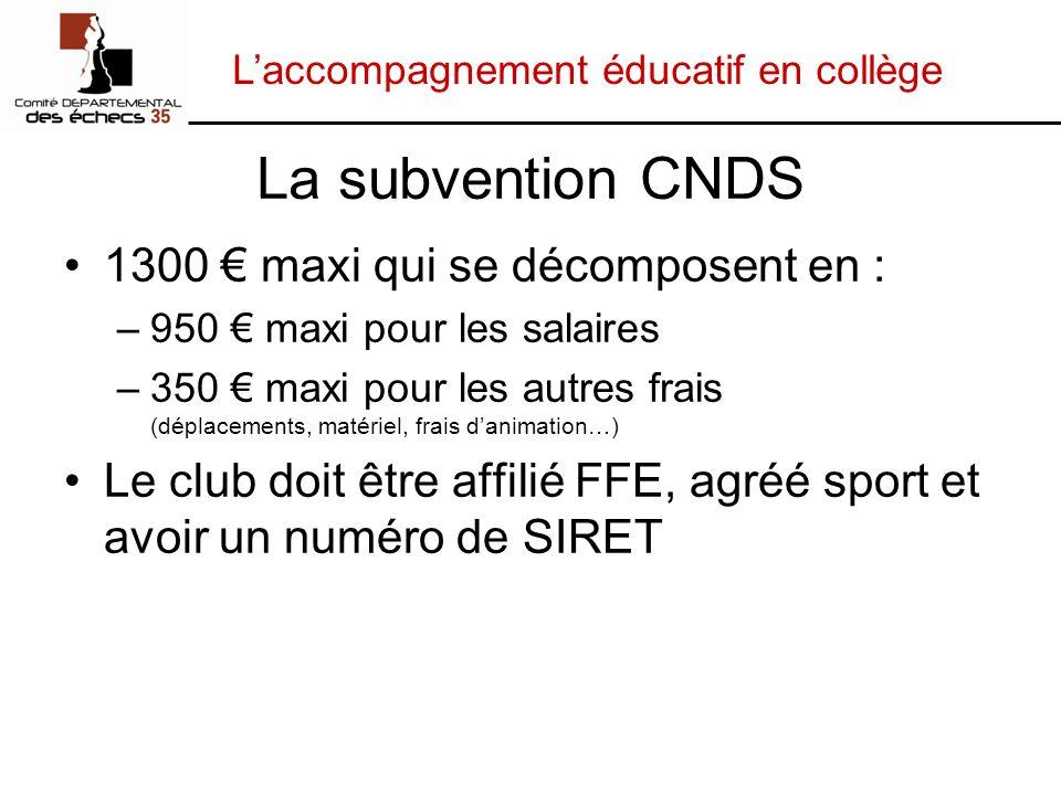 Laccompagnement éducatif en collège La subvention CNDS 1300 maxi qui se décomposent en : –950 maxi pour les salaires –350 maxi pour les autres frais (
