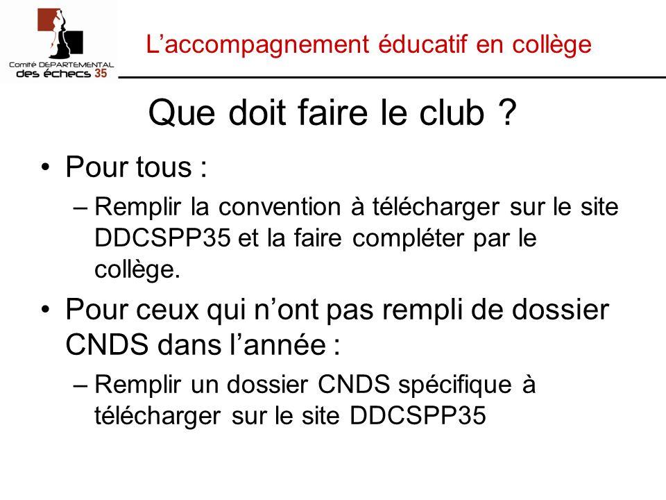 Laccompagnement éducatif en collège Que doit faire le club ? Pour tous : –Remplir la convention à télécharger sur le site DDCSPP35 et la faire complét