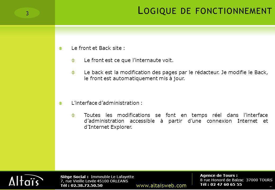 3 Agence de Tours : 8 rue Honoré de Balzac 37000 TOURS Tél : 02 47 60 65 55 Siège Social : Immeuble Le Lafayette 7, rue Vieille Levée 45100 ORLEANS Té