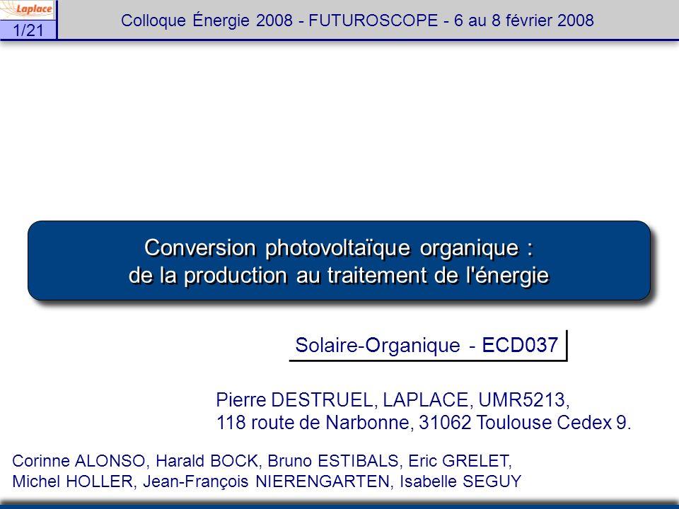 1/21 Colloque Énergie 2008 - FUTUROSCOPE - 6 au 8 février 2008 Conversion photovoltaïque organique : de la production au traitement de l'énergie Conve