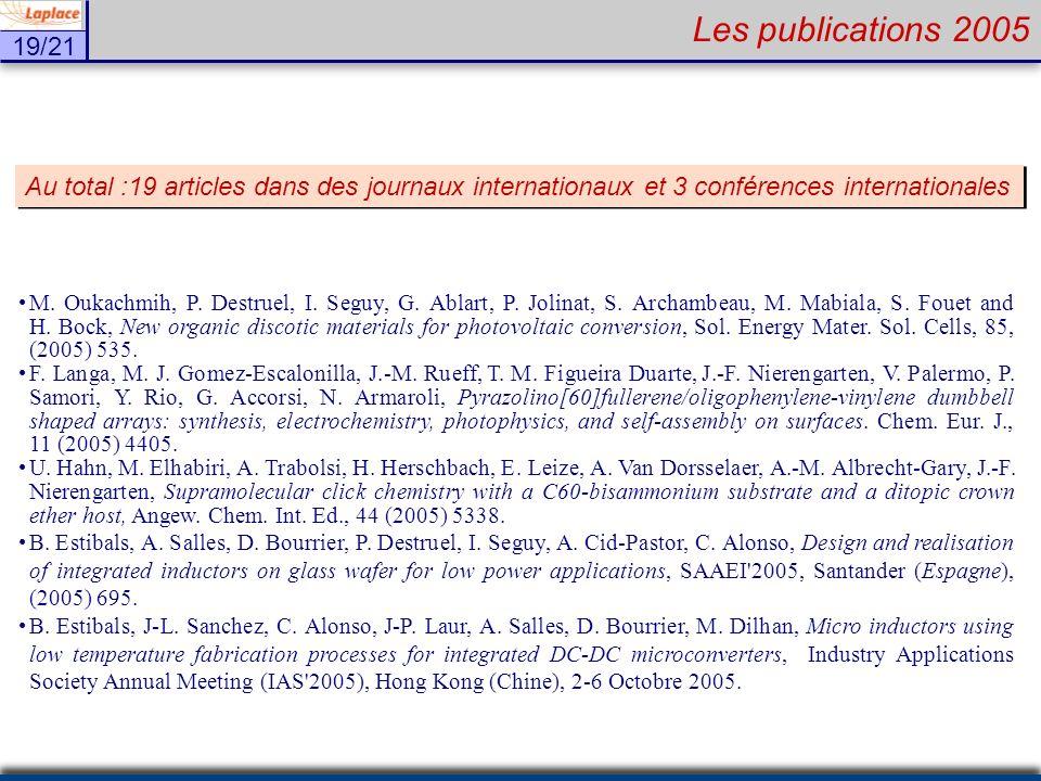 19/21 Les publications 2005 M. Oukachmih, P. Destruel, I. Seguy, G. Ablart, P. Jolinat, S. Archambeau, M. Mabiala, S. Fouet and H. Bock, New organic d