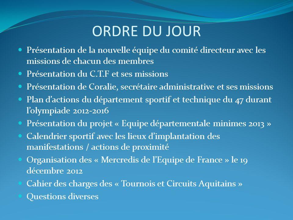 ORDRE DU JOUR Présentation de la nouvelle équipe du comité directeur avec les missions de chacun des membres Présentation du C.T.F et ses missions Pré