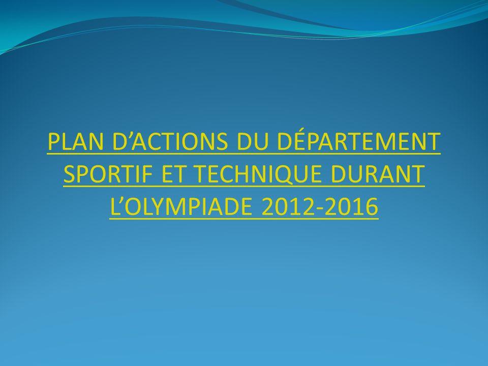 PLAN DACTIONS DU DÉPARTEMENT SPORTIF ET TECHNIQUE DURANT LOLYMPIADE 2012-2016