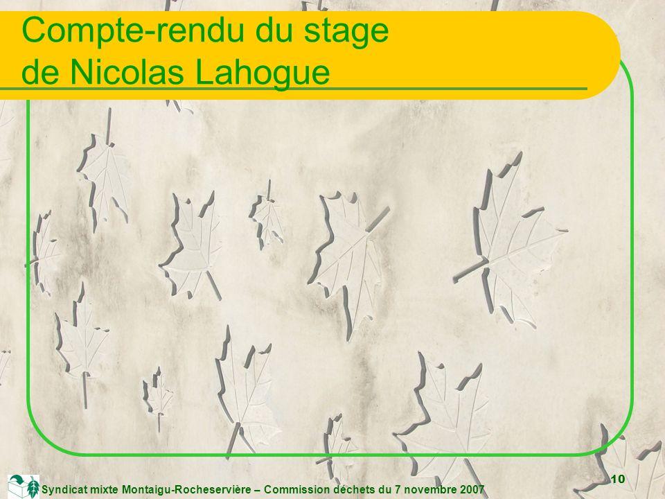 10 Syndicat mixte Montaigu-Rocheservière – Commission déchets du 7 novembre 2007 Compte-rendu du stage de Nicolas Lahogue