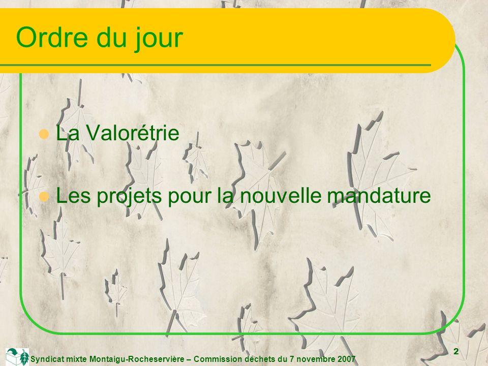 2 Syndicat mixte Montaigu-Rocheservière – Commission déchets du 7 novembre 2007 Ordre du jour La Valorétrie Les projets pour la nouvelle mandature