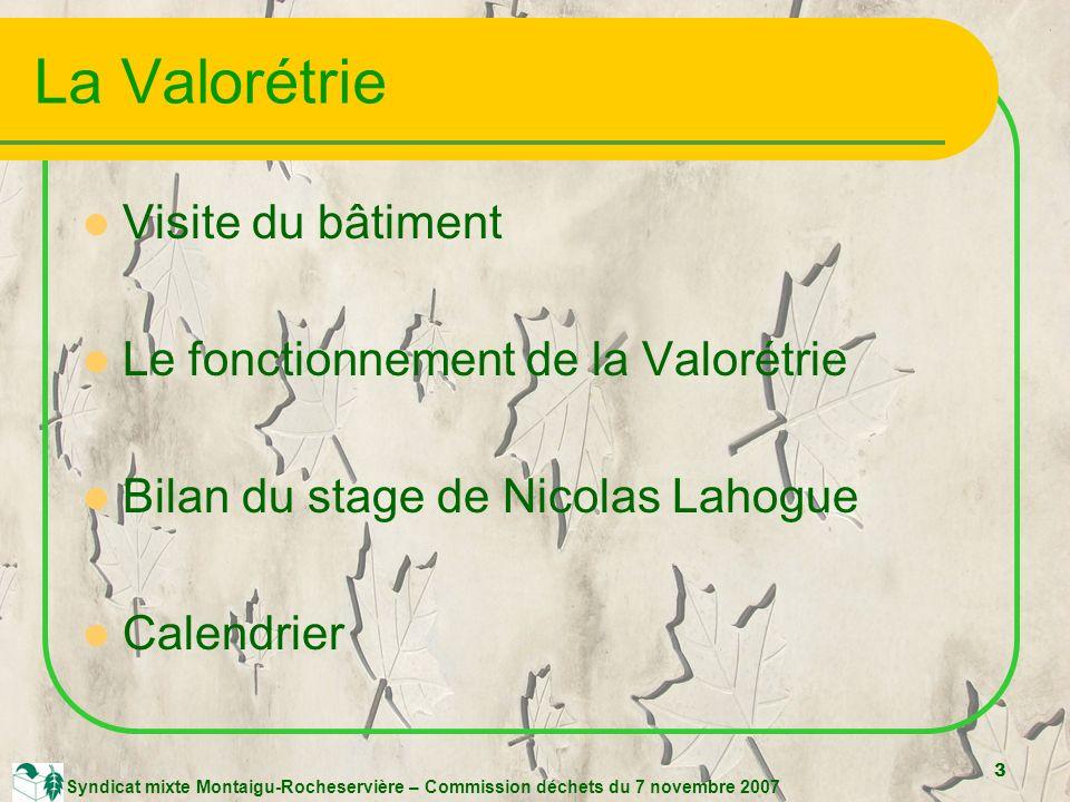 3 Syndicat mixte Montaigu-Rocheservière – Commission déchets du 7 novembre 2007 La Valorétrie Visite du bâtiment Le fonctionnement de la Valorétrie Bilan du stage de Nicolas Lahogue Calendrier