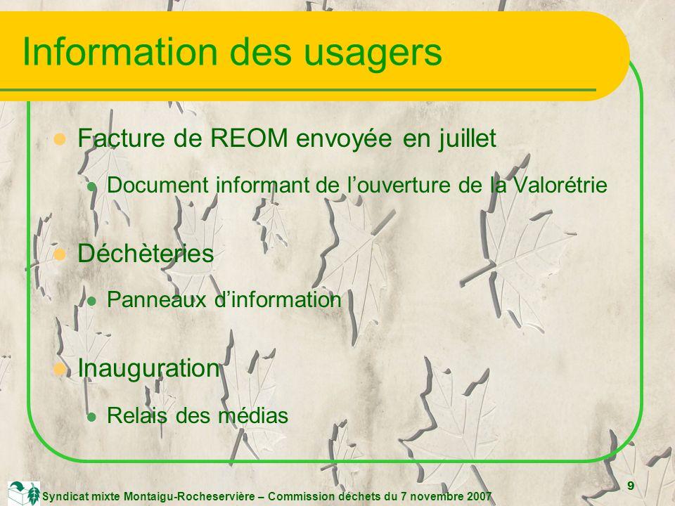 9 Syndicat mixte Montaigu-Rocheservière – Commission déchets du 7 novembre 2007 Information des usagers Facture de REOM envoyée en juillet Document informant de louverture de la Valorétrie Déchèteries Panneaux dinformation Inauguration Relais des médias
