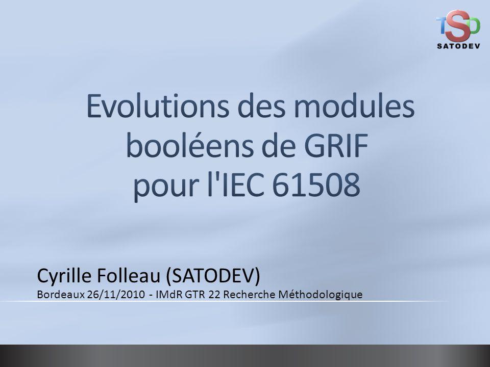 Cyrille Folleau (SATODEV) Bordeaux 26/11/2010 - IMdR GTR 22 Recherche Méthodologique