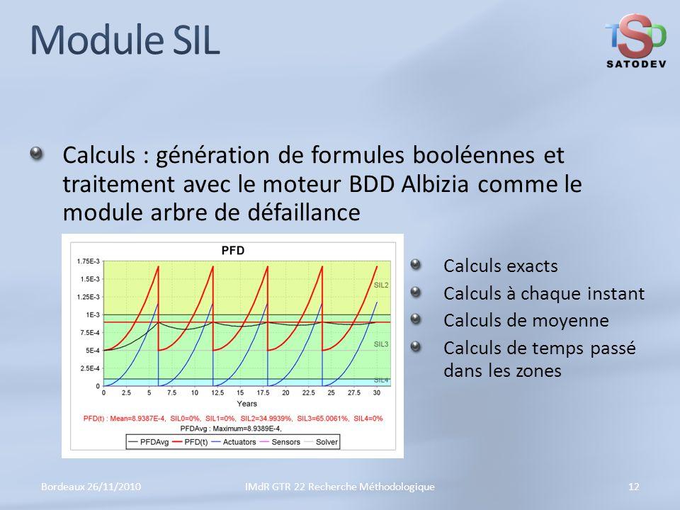 Calculs : génération de formules booléennes et traitement avec le moteur BDD Albizia comme le module arbre de défaillance Bordeaux 26/11/201012IMdR GTR 22 Recherche Méthodologique Calculs exacts Calculs à chaque instant Calculs de moyenne Calculs de temps passé dans les zones