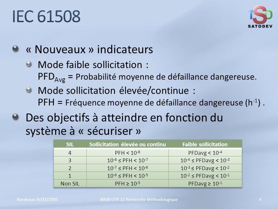 « Nouveaux » indicateurs Mode faible sollicitation : PFD Avg = Probabilité moyenne de défaillance dangereuse.