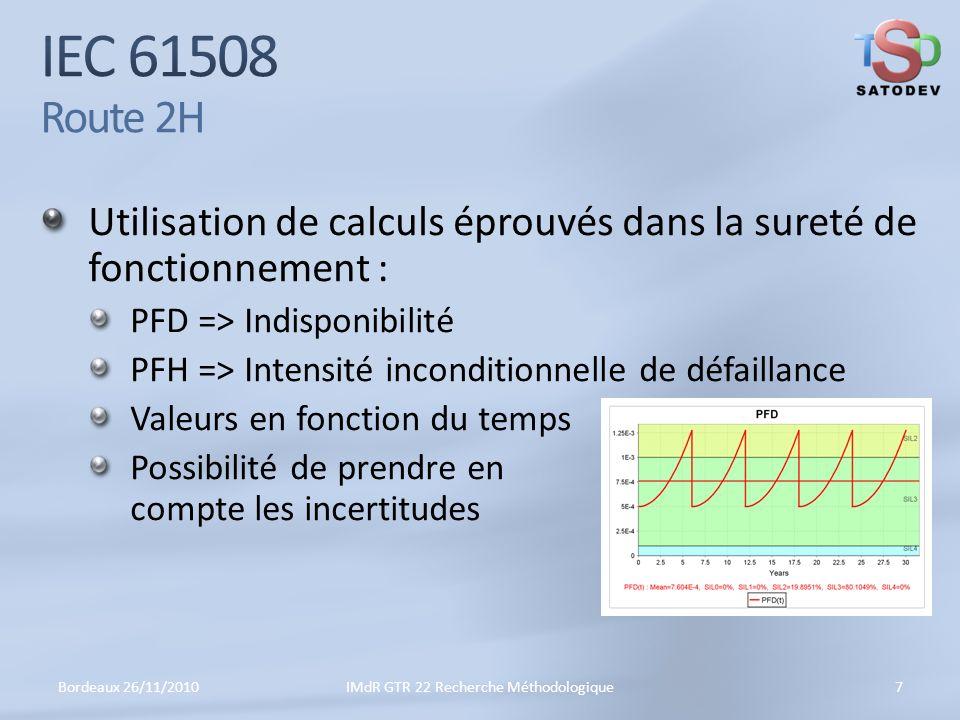 Utilisation de calculs éprouvés dans la sureté de fonctionnement : PFD => Indisponibilité PFH => Intensité inconditionnelle de défaillance Valeurs en fonction du temps Possibilité de prendre en compte les incertitudes Bordeaux 26/11/20107IMdR GTR 22 Recherche Méthodologique