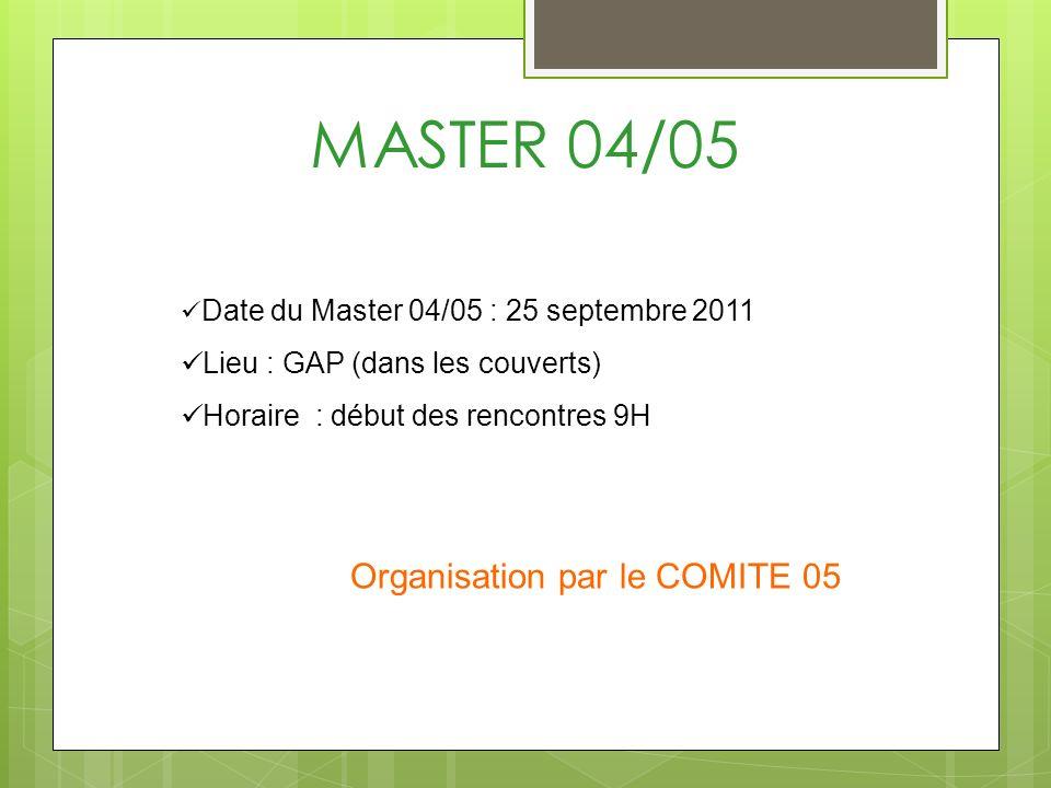 MASTER 04/05 Date du Master 04/05 : 25 septembre 2011 Lieu : GAP (dans les couverts) Horaire : début des rencontres 9H Organisation par le COMITE 05