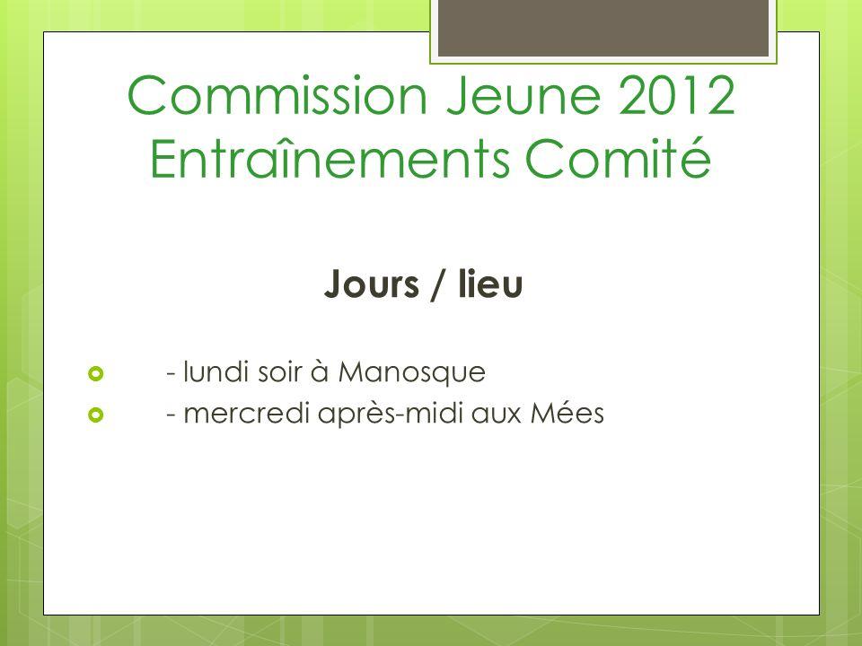 Commission Jeune 2012 Entraînements Comité Jours / lieu - lundi soir à Manosque - mercredi après-midi aux Mées