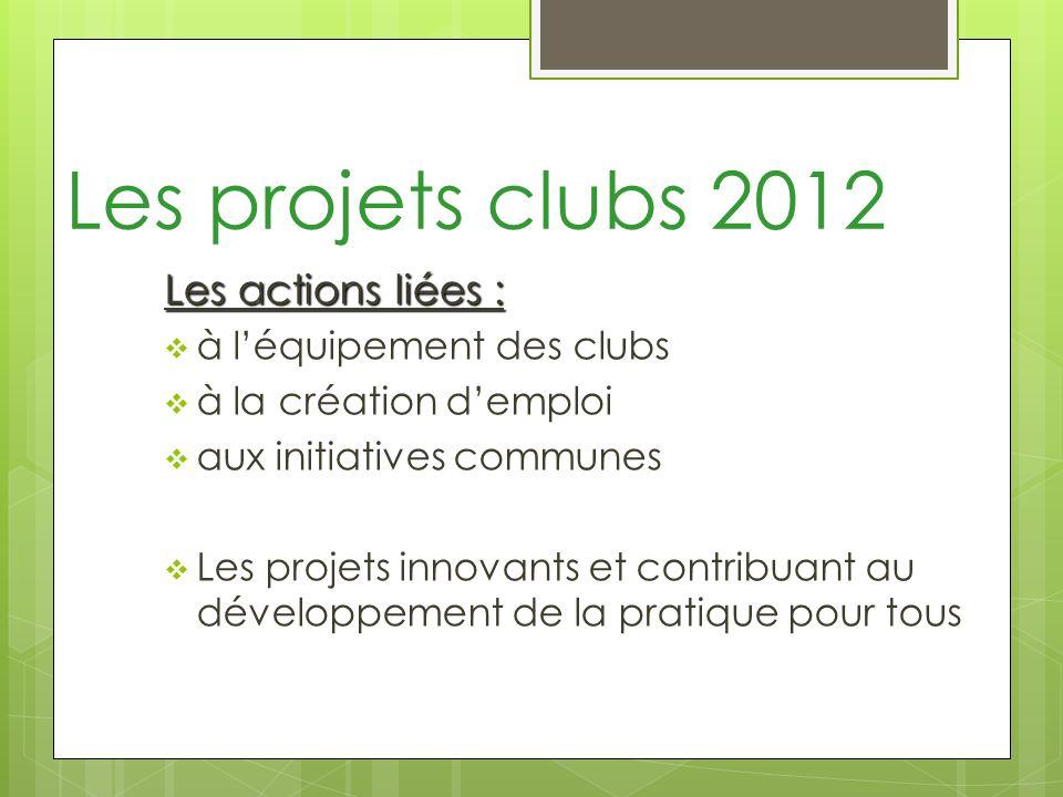 Les projets clubs 2012 Les actions liées : à léquipement des clubs à la création demploi aux initiatives communes Les projets innovants et contribuant au développement de la pratique pour tous