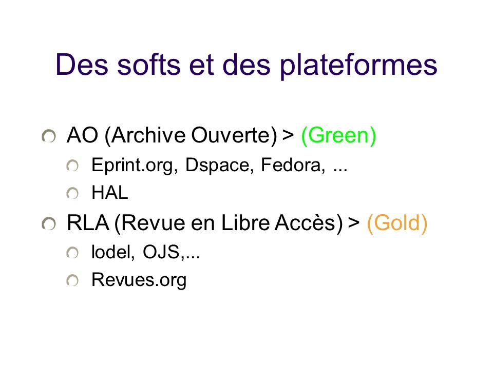 Des softs et des plateformes AO (Archive Ouverte) > (Green) Eprint.org, Dspace, Fedora,... HAL RLA (Revue en Libre Accès) > (Gold) lodel, OJS,... Revu