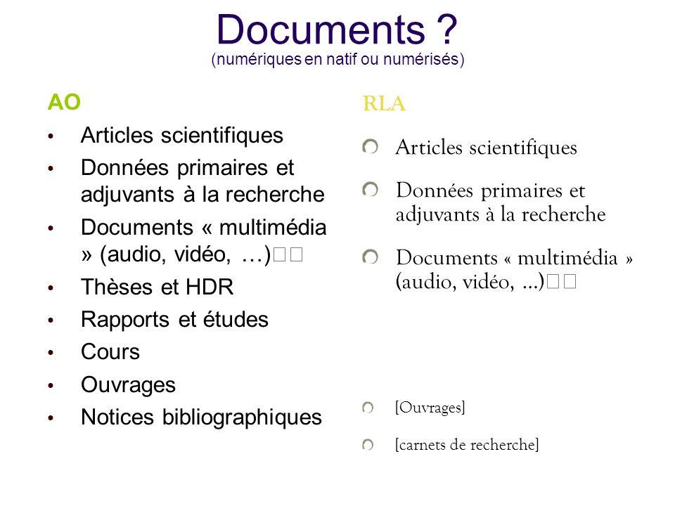 Documents ? (numériques en natif ou numérisés) AO Articles scientifiques Données primaires et adjuvants à la recherche Documents « multimédia » (audio