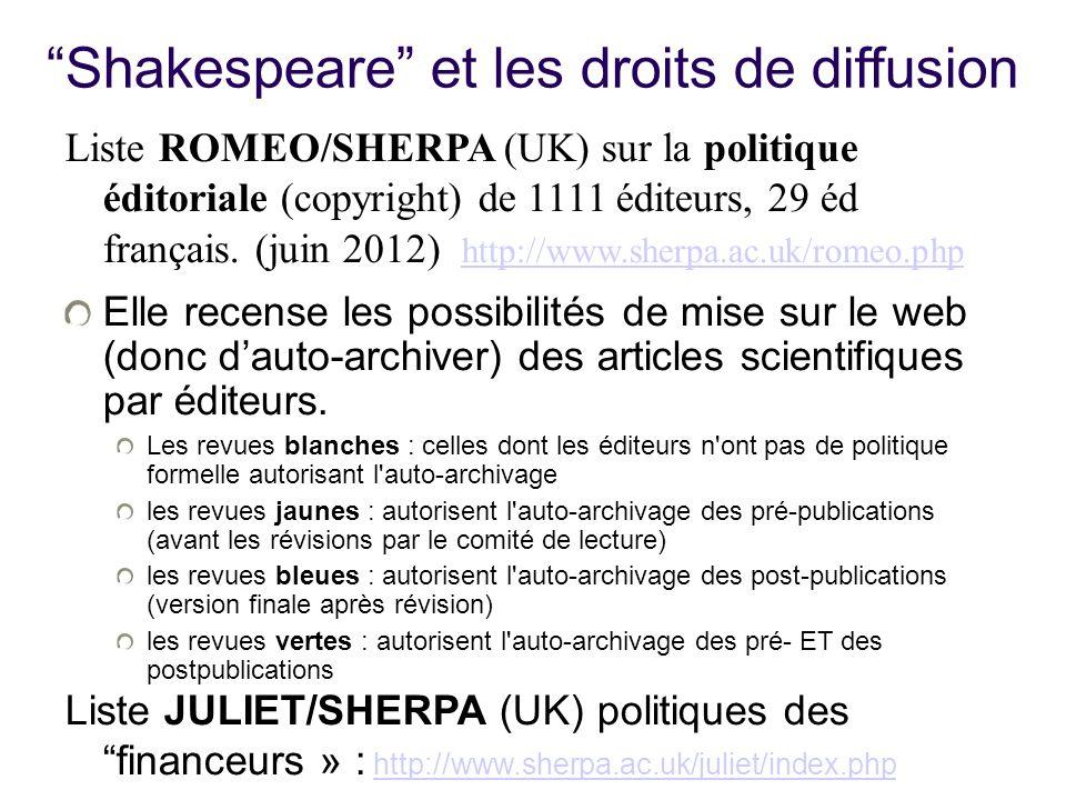 Shakespeare et les droits de diffusion Liste ROMEO/SHERPA (UK) sur la politique éditoriale (copyright) de 1111 éditeurs, 29 éd français. (juin 2012) h