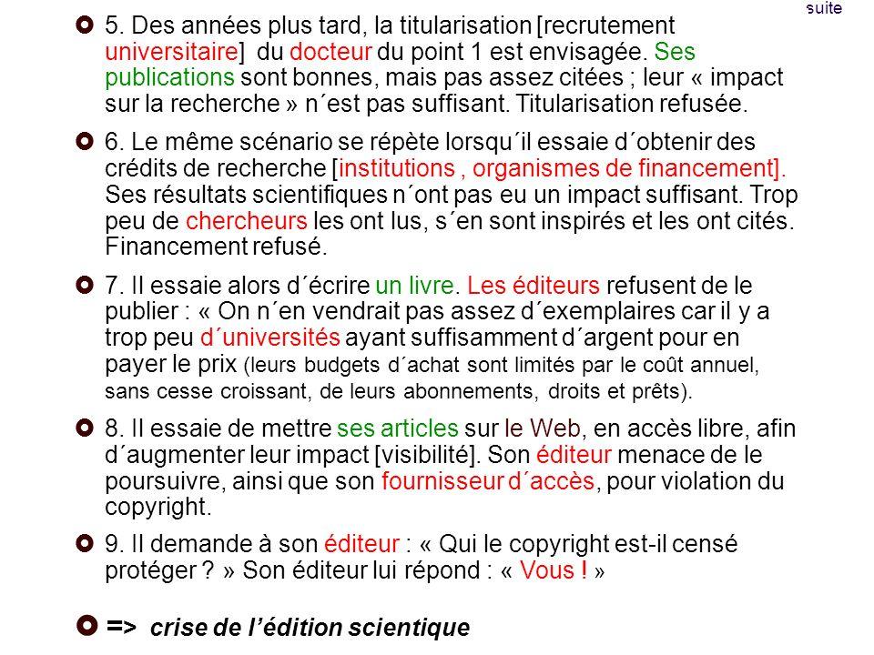 Pour suivre linfo Le blog de Peter Suber (english): http://www.earlham.edu/~peters/fos/fosblog.html http://www.earlham.edu/~peters/fos/fosblog.html site du Libre Accès à lIST (french) : http://openaccess.inist.fr/http://openaccess.inist.fr/ un site, Digital Scholarship, http://www.digital- scholarship.org/http://www.digital- scholarship.org/ une liste, AMERICAN-SCIENTIST-OPEN-ACCESS-FORUM, http://listserver.sigmaxi.org/sc/wa.exe?A0=american-scientist-open-access-forum&D=1&F=l http://listserver.sigmaxi.org/sc/wa.exe?A0=american-scientist-open-access-forum&D=1&F=l
