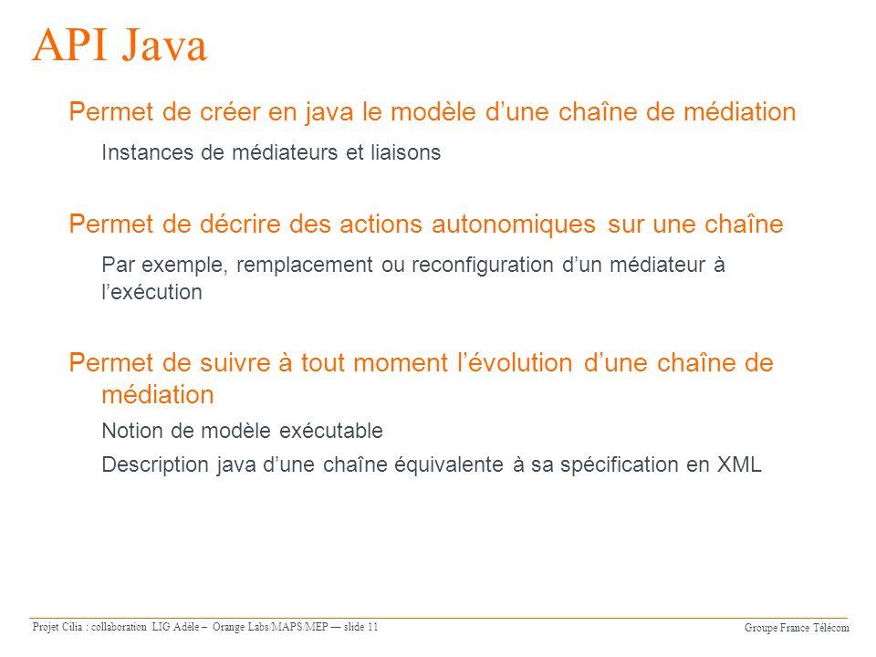 Groupe France Télécom Projet Cilia : collaboration LIG Adèle – Orange Labs/MAPS/MEP slide 11 API Java Permet de créer en java le modèle dune chaîne de