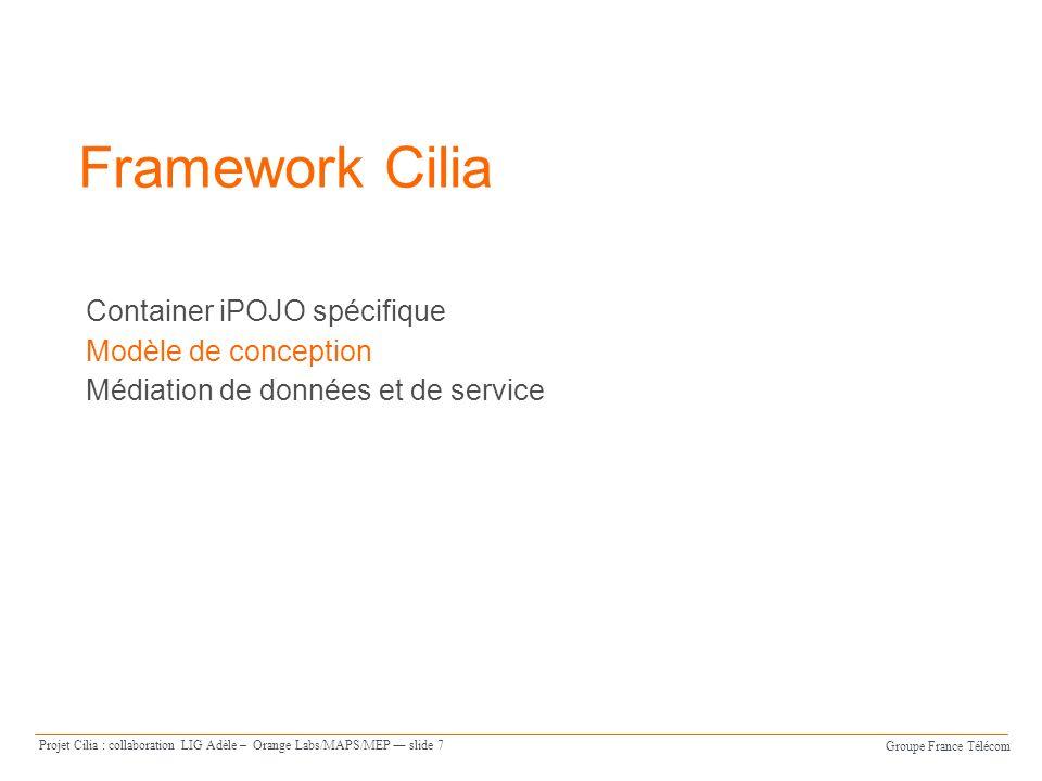 Groupe France Télécom Projet Cilia : collaboration LIG Adèle – Orange Labs/MAPS/MEP slide 8 Modèles de conception et dimplantation Client Service Plate-forme d exécution Service Modèle dimplantation = médiateurs en iPOJO Modèle conceptuel exécutable = chaîne spécifiée en java à partir de lAPI Java de médiation Modèle conceptuel = médiateurs, instances et assemblage spécifiés à laide du DSL XML de médiation Syntaxe iPOJO + médiation Syntaxe médiation