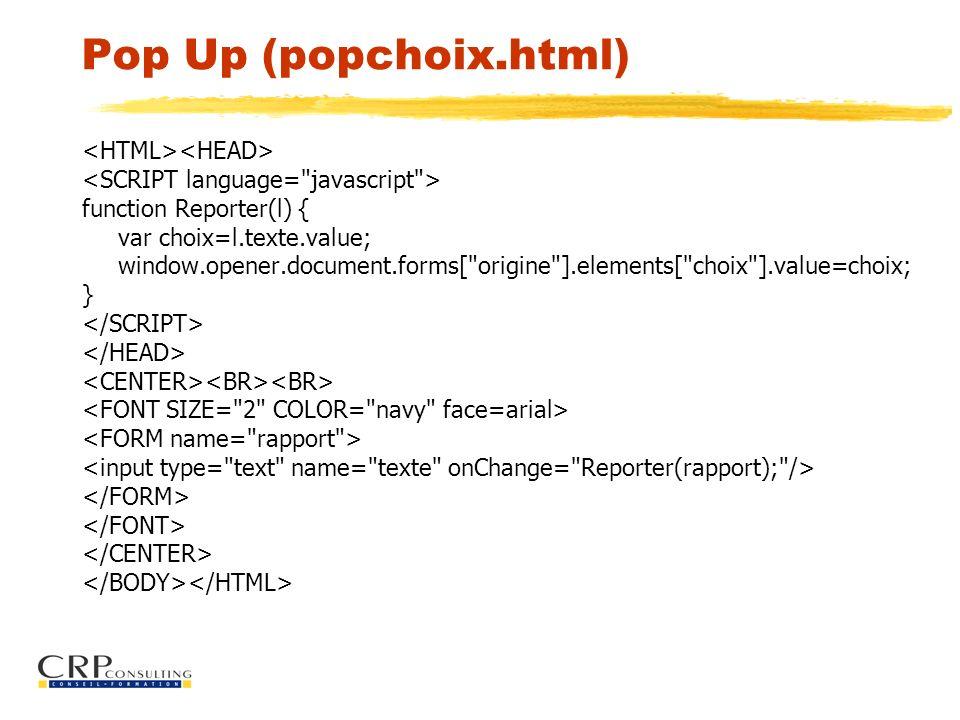 Pop Up (popchoix.html) function Reporter(l) { var choix=l.texte.value; window.opener.document.forms[