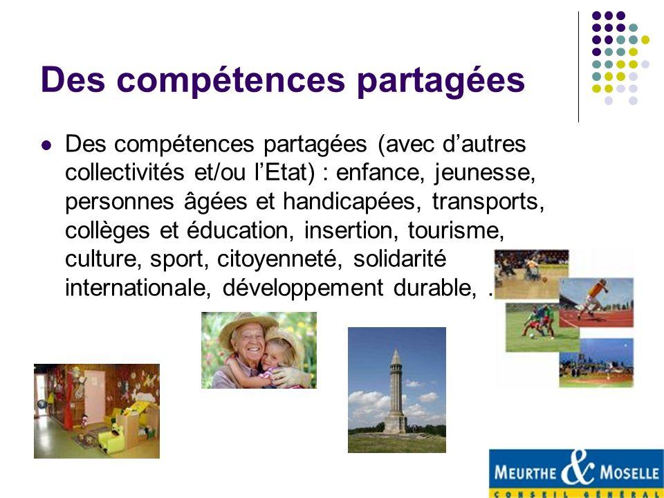 Des compétences partagées Des compétences partagées (avec dautres collectivités et/ou lEtat) : enfance, jeunesse, personnes âgées et handicapées, tran