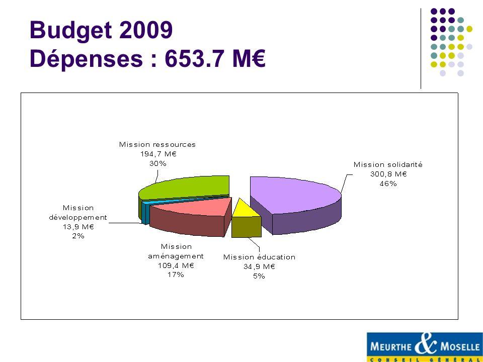 Budget 2009 Dépenses : 653.7 M