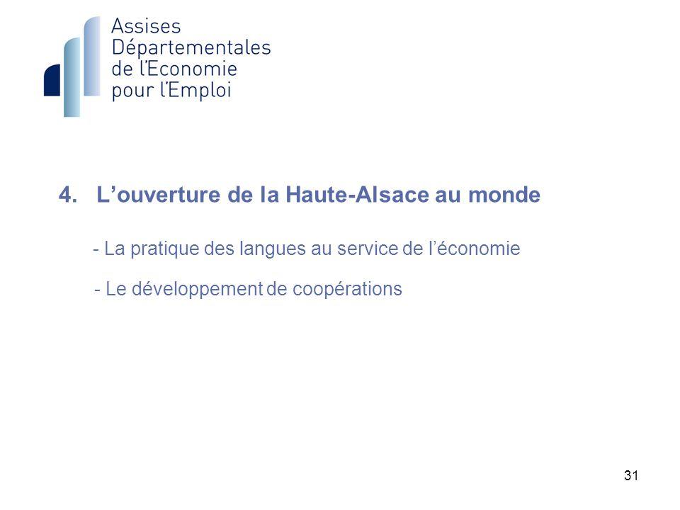 31 4. Louverture de la Haute-Alsace au monde - La pratique des langues au service de léconomie - Le développement de coopérations