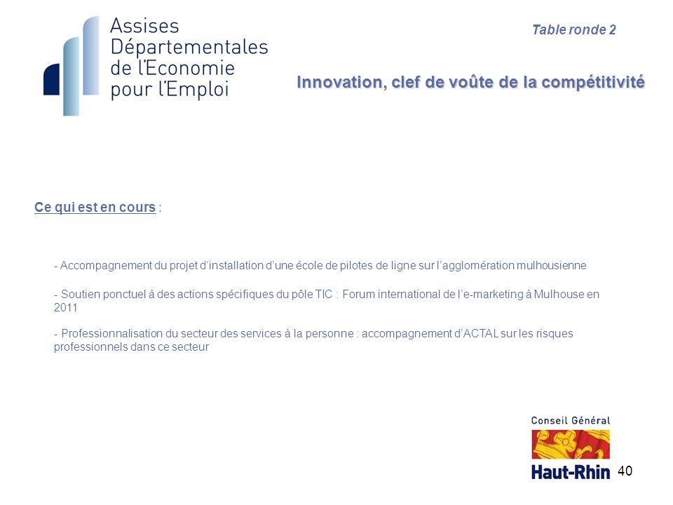 40 Ce qui est en cours : Innovation, clef de voûte de la compétitivité Table ronde 2 - Accompagnement du projet dinstallation dune école de pilotes de